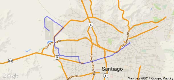 Distancia entre San Sebastián, Santiago, Chile y Aeropuerto Internacional Arturo Merino Benítez, Santiago Centro, Chile