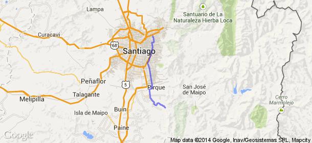 Distancia entre Manquehue, Santiago, Chile y Pirque, Chile